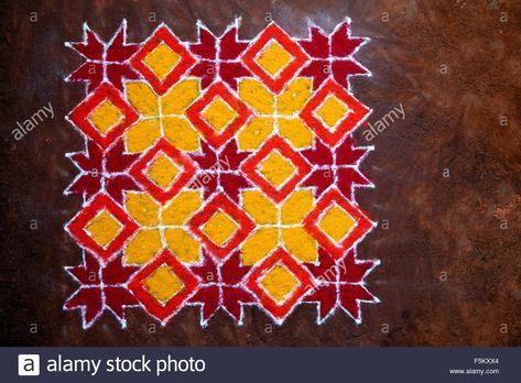 Rangoli designs, diwali festival, india, asia Stock Photo