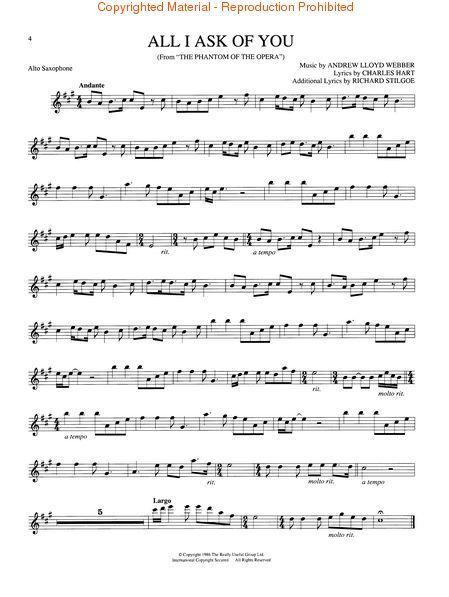 Image Result For All I Ask Of You Saxophone Sheet Music
