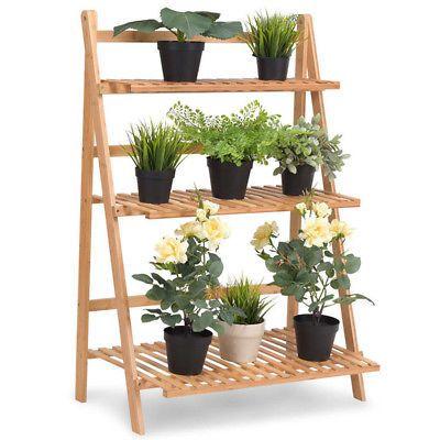 Wood Bamboo Metal Shelf Flower Pot Plant Stand Rack Garden Indoor Outdoor Patio Wooden Plant Stands Plant Shelves Wooden Flowers