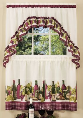 Achim Chardonnay Printed Tier And Swag Window Curtain Set Burgundy Valance With Images Kitchen Curtain