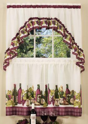 Achim Chardonnay Printed Tier And Swag Window Curtain Set