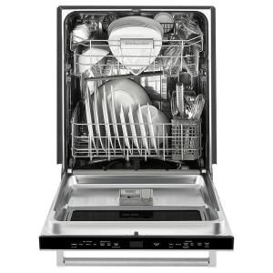 Kitchenaid Top Control Built In Dishwasher In Stainless Steel With Stainless Steel Tub And Window With Lighted Interior 44dba Kdtm384ess The Home Depot Built In Dishwasher Steel Tub Dishwasher Parts
