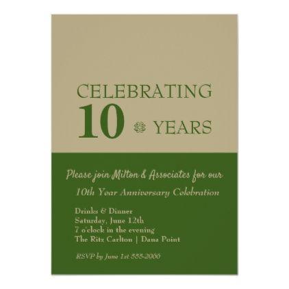 Business Anniversary Celebration Green Gold Invitation Zazzle Com Gold Invitations Anniversary Invitations Anniversary Celebration