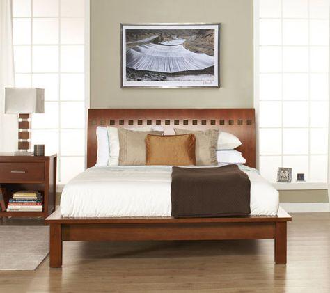 Sleek platform bed with a firm, plush mattress