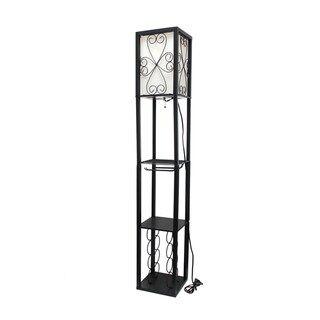 Simple Designs Floor Lamp Etagere Organizer Storage Shelf And Wine