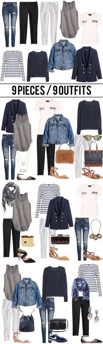 Minimal + Chic Wardrobe Capsule. Nine pieces creates nine outfit ideas.