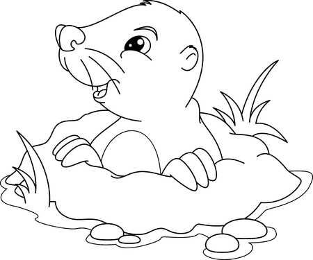 Illustration of Cute mole peeking out of a hole, Coloring page vector art, clipart and stock vectors.