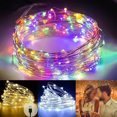 200 LED Micro Copper Wire USB String Fairy Lights Wedding Xmas Party Decor Lamps