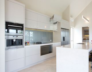 White Kitchen Grey Splashback glass splashback. blue grey on white | kitchen ideas | pinterest