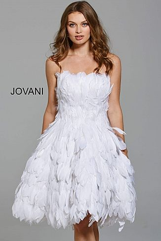 Jovani Dress 61859 Fit And Flare Knee Length Strapless Feather Cocktail Dress Feather Cocktail Dress Feather Dress Short White Cocktail Dress
