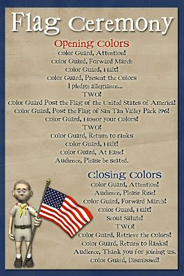 Cub Scout Flag Ceremony Cheat Sheets For Boys To Help Them