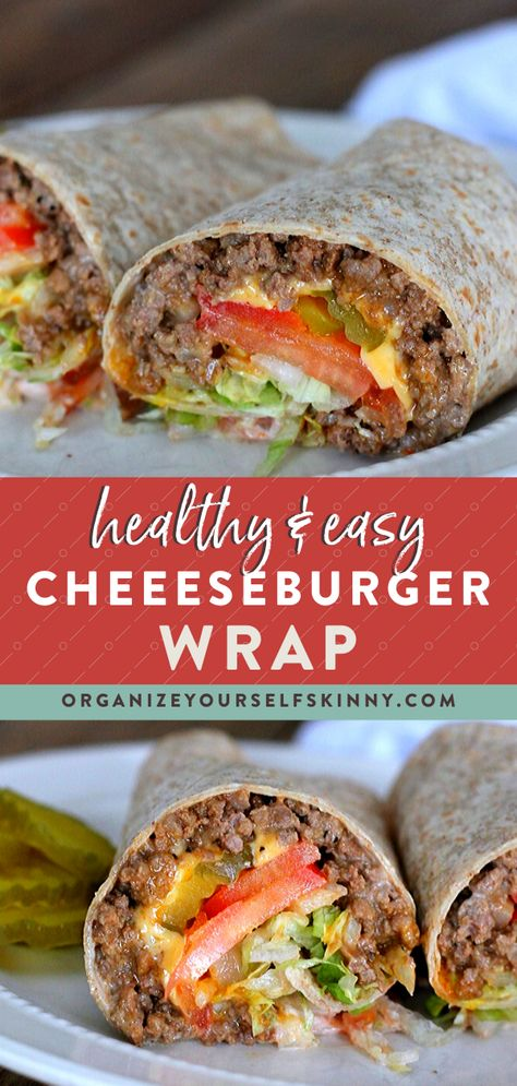 This healthy cheeseburger wrap is filled with lean ground beef melted cheese and all your favorite hamburger toppings. Just like a real burger No Calorie Foods, Low Calorie Recipes, Low Calorie Easy Meals, Low Calorie Wrap, Liw Calorie Meals, Low Calorie Dinner For Two, Meal Prep Low Carb, Low Calorie Lunches, Low Carb Wraps