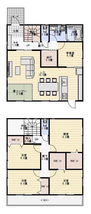 40坪5ldk家事室のある間取り 新築間取り 間取り 40坪 40坪 間取り