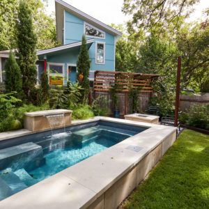 Native Edge Landscape Austin Tx Brentwood Plunge Courtyard Plunge Pool Pool Outdoor Fencing