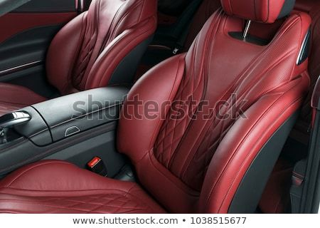 Modern Luxury Car Inside Interior Of Prestige Modern Car Comfortable Leather Red Seats Red Perforated Leather Cockpit With Isolated Black Background Modern