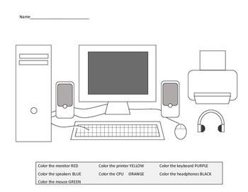 Parts Of A Computer Worksheets Including Laptop Diagram Clases