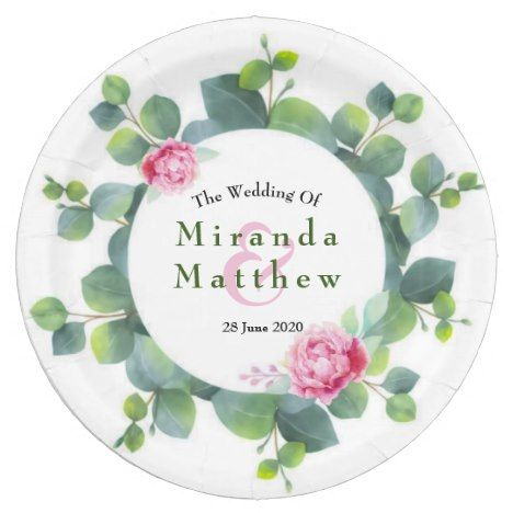 Sage Eucalyptus Leaves and Pink Roses Wedding Paper Plate