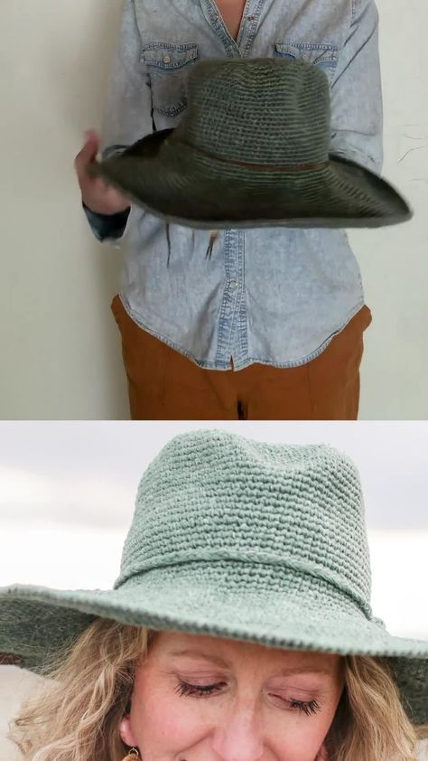 DIY Fedora Sun Hat - Free Crochet Pattern by Make & Do Crew
