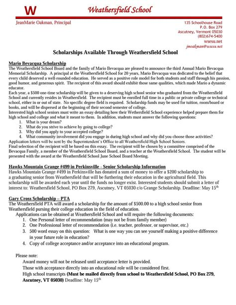 High School Scholarships at WS - scholarship acceptance letter