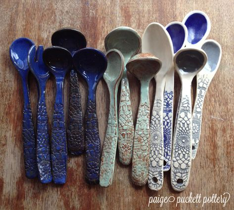 Love, love, love these whimsical spoons. These ceramic serving spoons are each one-of-a-kind and hand built in my studio. All the glazes I use are food safe, and being stoneware, they are oven safe as well.                                                                                                                                                      More