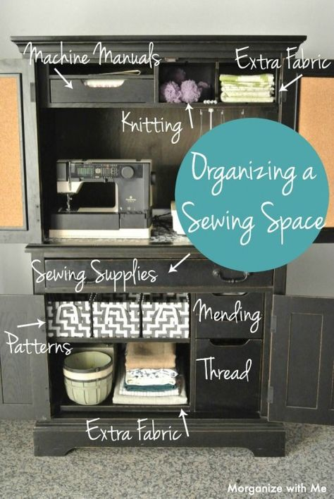 Organizing a Sewing Space Repurpose an Armoire to create a dedicated and organized sewing space. When you can't have your own room to sew, create a small space!