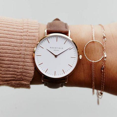 Damenuhr in Roségold - braunes Lederarmband| Tribeca | Rosefield Watches