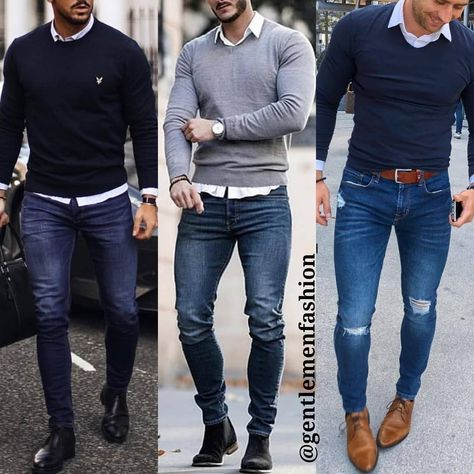 CHICS KIND: Mens outfit with jeans shirt, parka and watch