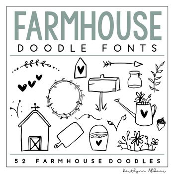Farmhouse Font Includes 52 Farmhouse Inspired Doodles Note These Doodles Are Not Solid As The Regular Doodles Are T Doodle Fonts Doodle Lettering Doodles