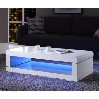 Luz Table Basse Avec Led Multicolore Style Contemporain Laque Blanc Brillant L 120 X L 60 Cm Table Basse Blanc