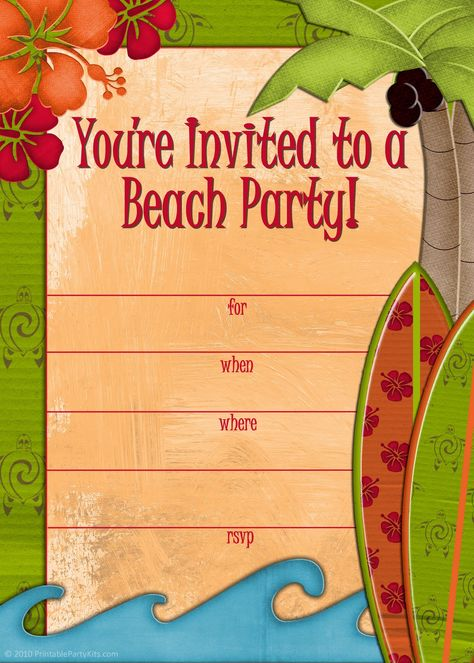 Free printable #beach party #invitations from PrintablePartyInv...