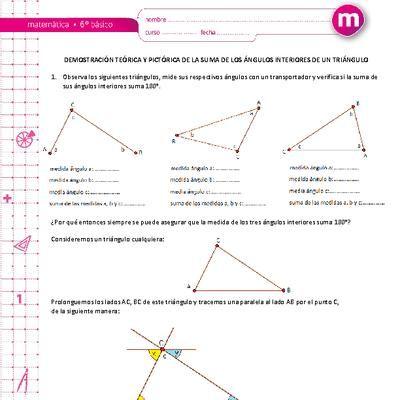 Demostración Teórica Y Pictórica De La Suma De Los ángulos Interiores De Un Triángulo Triangulos Pictorico Esquemas Electricos