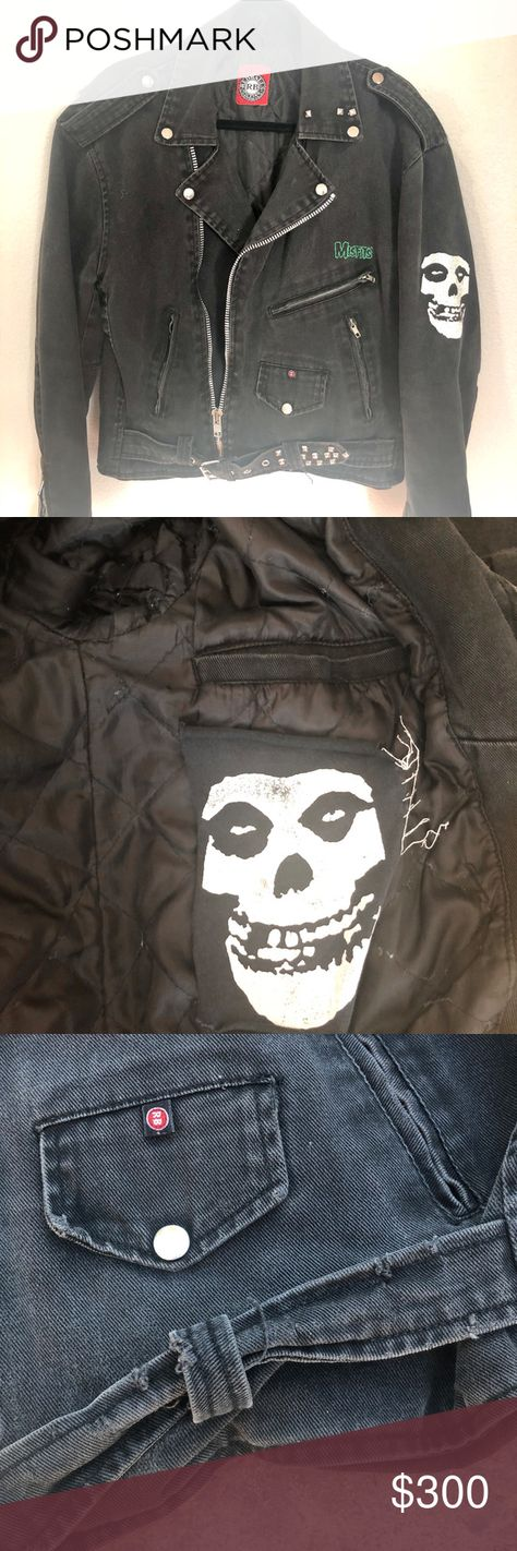 90's Vintage Denim Misfits Jacket Extremely RARE Has no tag.  Has flaws, fits the punk look. Extremely RARE. I am waiting on Petra (designer for RED BALLS) to verify if this is a one of a kind design. Red Balls has designed pieces for Axl Rose, Slash, Chevy Metal, Prince,  and more.  Back of Jacket:  approx 24 1/2