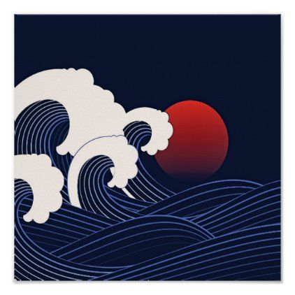Navy Blue Japanese Waves with Moon Drawing Poster