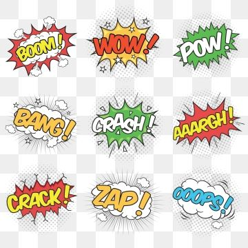Collection Of Nine Wording Effects For Comic Speech Bubble Word Clipart Pow Comic Png And Vector With Transparent Background For Free Download Free Graphic Design Retro Vector Cartoon Background