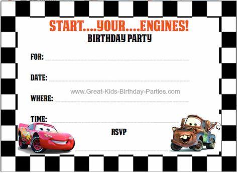 FREE Printable Cars Invitations 4 per sheet cars invitations – Cars Birthday Invitation Templates