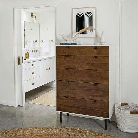 Take a scroll through our wide selection of beautiful mid-century modern dressers and outfit your home in just a few clicks. Furniture, Bedroom Makeover, Home Bedroom, 5 Drawer Dresser, Cheap Home Decor, Home Decor, Bedroom Furniture, Apartment Decor, Furniture Rehab