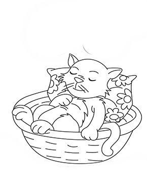 Ausmalbild Katzchen Schlaft Im Korb Zum Ausmalen Ausmalbilder Malvorlagen Katze Ausmalbilderkatze Kinde Ausmalbilder Katzen Ausmalen Ausmalbild