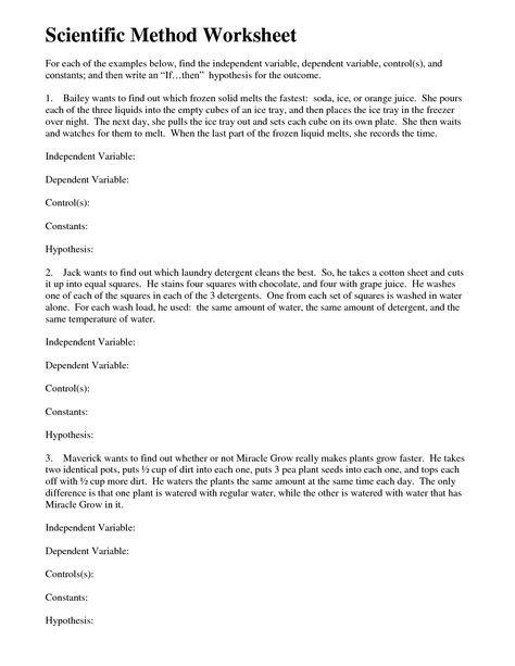 Scientific Method Variables Worksheets Scientific Method Scientific Method Worksheet Worksheets