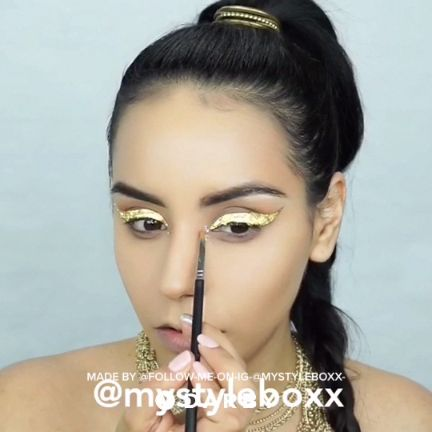 Makeup Tutorial for This Gold Leaf Eyeliner Look > beauty, makeup products, cosmetics and skin care