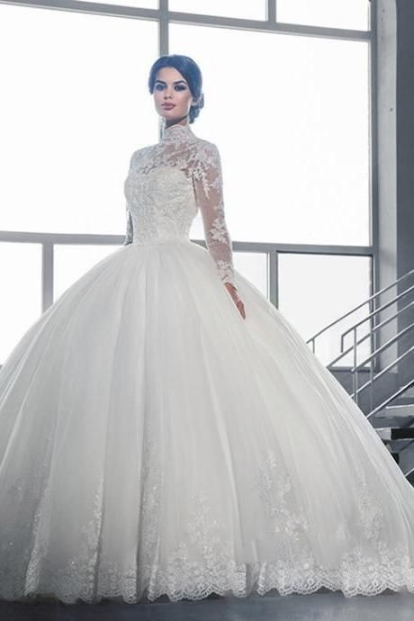 Mirusponsa Full Sleeve High Neck Button Back Top Lace Appliqued Bodice Ball Gow Wedding Dresses Lace Ballgown Ball Gowns Wedding Long Sleeve Wedding Dress Lace
