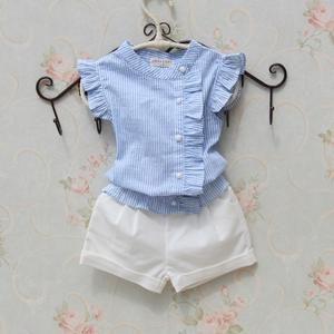 3c91051c8 Niñas blusa verano camisa a rayas de algodón 2018 blusa Casual sin ...