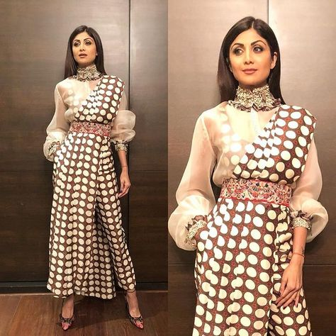 Shilpa Shetty in brown and white polka-dotted pant saree from Anamika Khanna's collection, Mid-Day Guide Awards Appearances