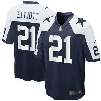 newest 779f4 639c8 Men's Dallas Cowboys Ezekiel Elliott Nike Navy Alternate ...