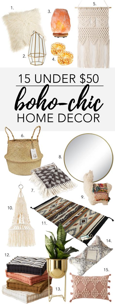 15 UNDER $50: BOHO-CHIC HOME DECOR - There's no escaping it - Boho-chic is so HOT right now! Whether you're looking to add just a hint of Boho flair to your home or go all out and transform your home into the ultimate Bohemian sanctuary, there's something for everybody in our latest decor round-up :) #bohochic #bohemiandecor #bohostyle