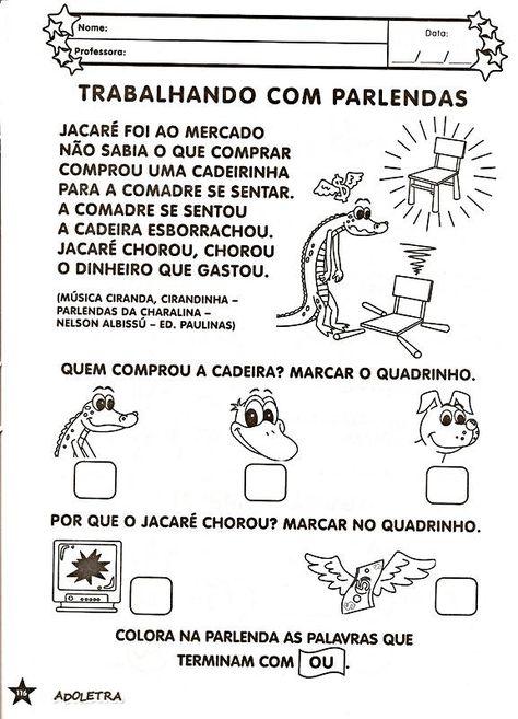 30 Atividades Com Parlendas Para Imprimir Educacao Infantil