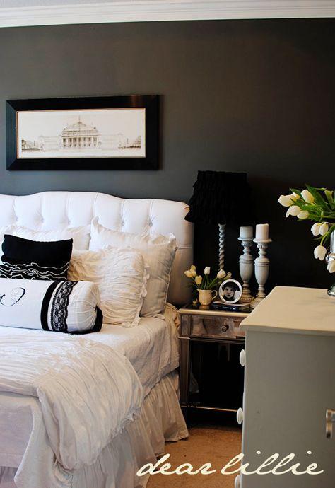 charcoal gray walls - white bedding -