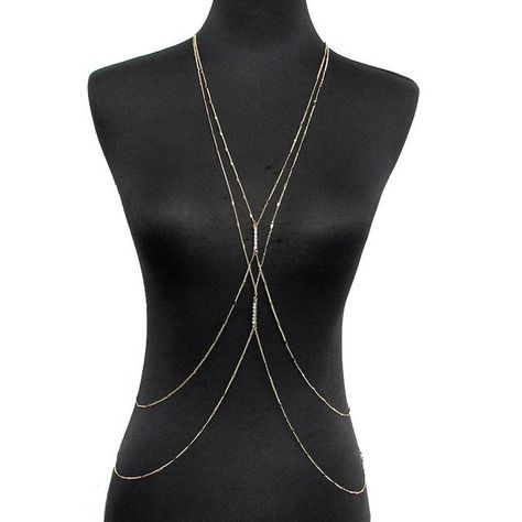 Gold Color Chain Necklaces Women Simple Jewelry Double Rhinestones Inlay  Beach Necklace Sexy Accessories Body Chain Metals Type  Zinc Alloy Color   Gold ... b6b085e4720