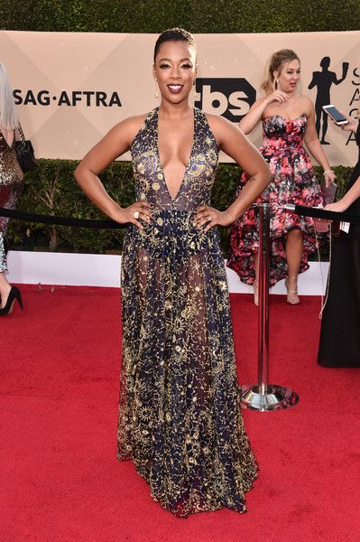 Actor Samira Wiley attends the 24th Annual Screen Actors Guild Awards.