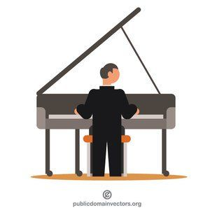 Male Piano Player Cartoon Vector Clipart - FriendlyStock