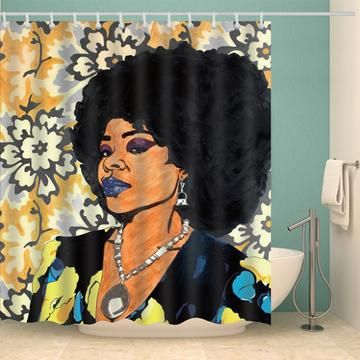 Romantic Afro Black King With Queen Shower Curtain Bathroom Decor Painting Shower Afrocentric Decor Black Fashion